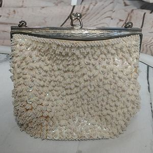 Vintage Beaded Purse White with Silver Snake Chain